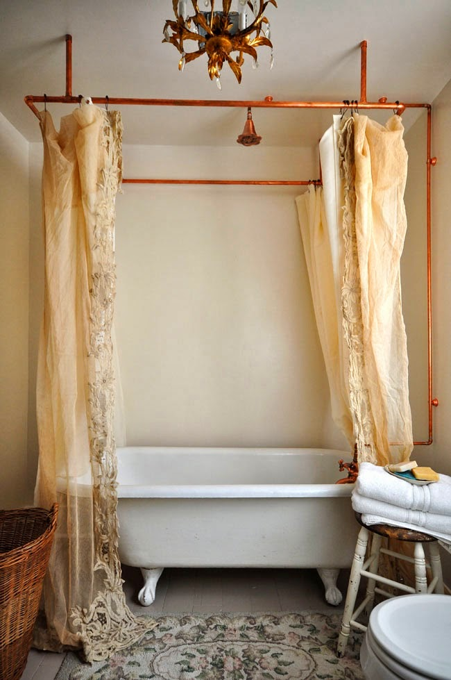 Copper pipe shower curtain and vintage bathroom eclecticallyvintage.com