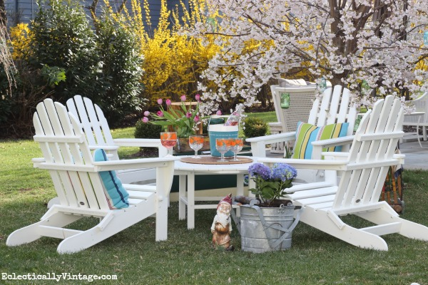 Polywood Adirondack Chair Conversation Set   Love The Four Chairs And The  Big Round Table!