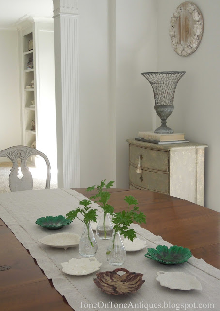 Beautiful dining room - love the leaf pottery collection eclecticallyvintage.com