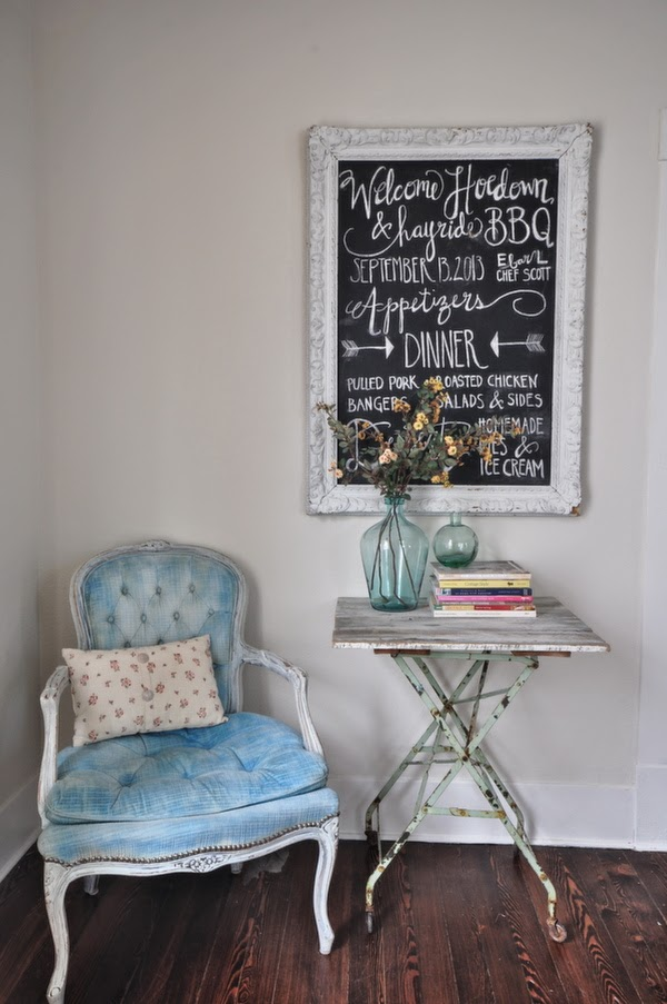 Vintage reading nook - love the chair and chalkboard kellyelko.com