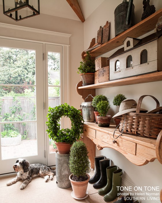 Beautiful topiary filled mudroom eclecticallyvintage.com