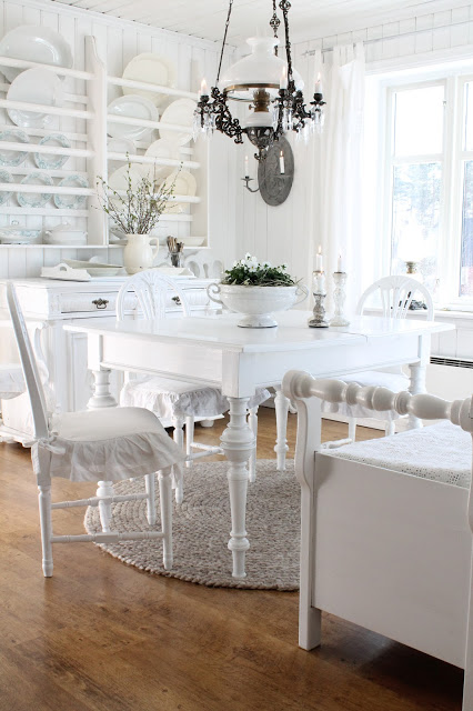 Eclectic Home Tour of Vibeke Design - lovely shades of white in this charming cottage kellyelko.com
