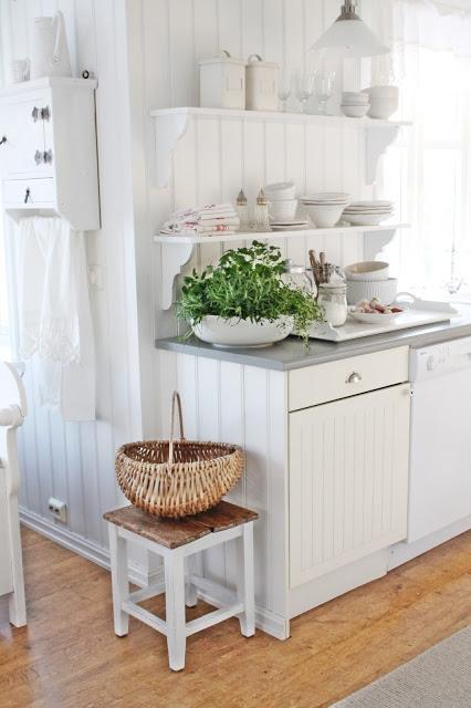 White cottage kitchen - love the open shelves kellyelko.com