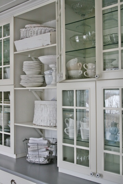 Love the glass kitchen cabinets - perfect for display eclecticallyvintage.com