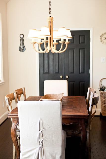 Cottage dining room - love the dark doors kellyelko.com