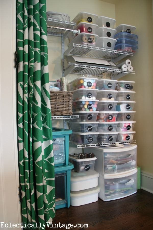 Craft closet - great storage ideas! kellyelko.com