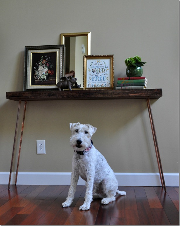 Make a copper leg console table eclecticallyvintage.com