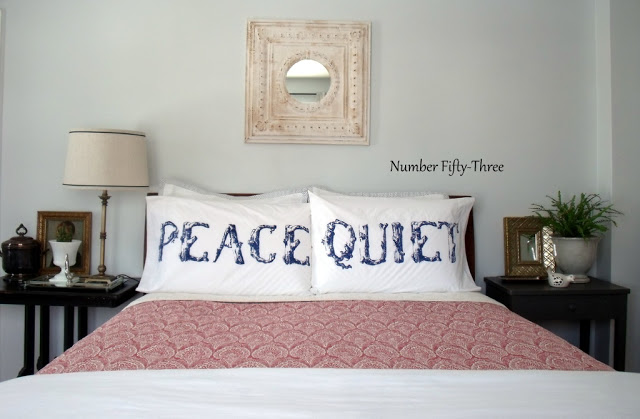 Charming bedroom - what fun Peace and Quiet pillows kellyelko.com