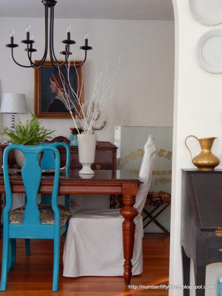 Eclectic dining room - love the blue chairs kellyelko.com