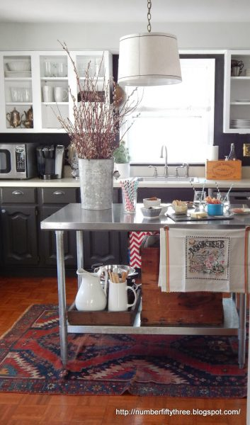 Gorgeous kitchen - love the mismatched cabinets, open shelving and stainless island eclecticallyvintage.com