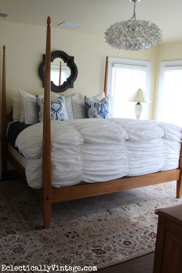 Bedding tips and tricks (and check out that amazing capiz chandelier)! kellyelko.com