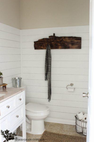 Plank wall bathroom with rustic towel holder kellyelko.com