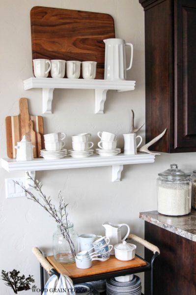 Open kitchen shelves - perfect for display kellyelko.com