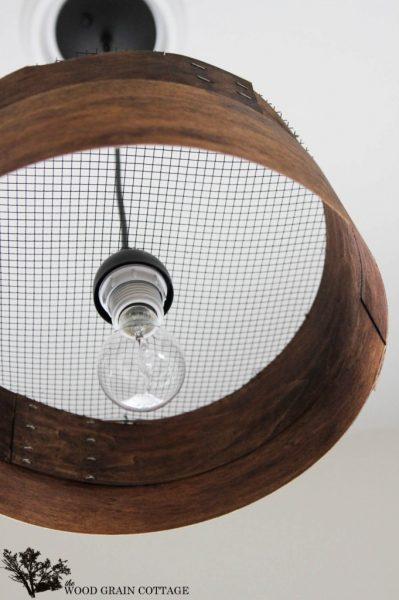 Make a knock off grain sieve chandelier light kellyelko.com
