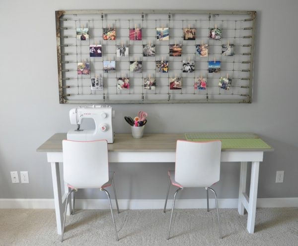 Love this craft room and the bedspring memo board eclecticallyvintage.com