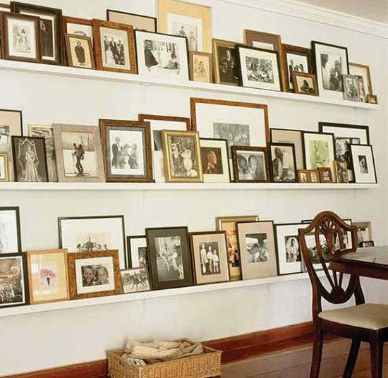 Picture ledge gallery wall - great idea to quickly change out art by India Hicks