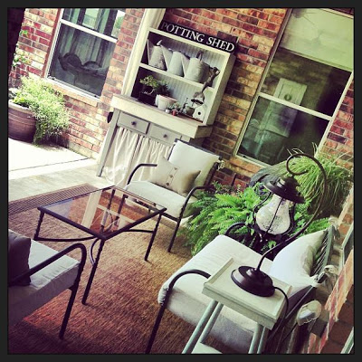 Love this porch and the potting shed eclecticallyvintage.com