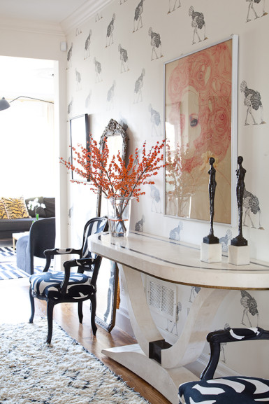 Fun foyer - love the ostrich wallpaper kellyelko.com