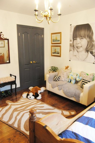 Boys bedroom - love the giant photo and the faux hide rug kellyelko.com
