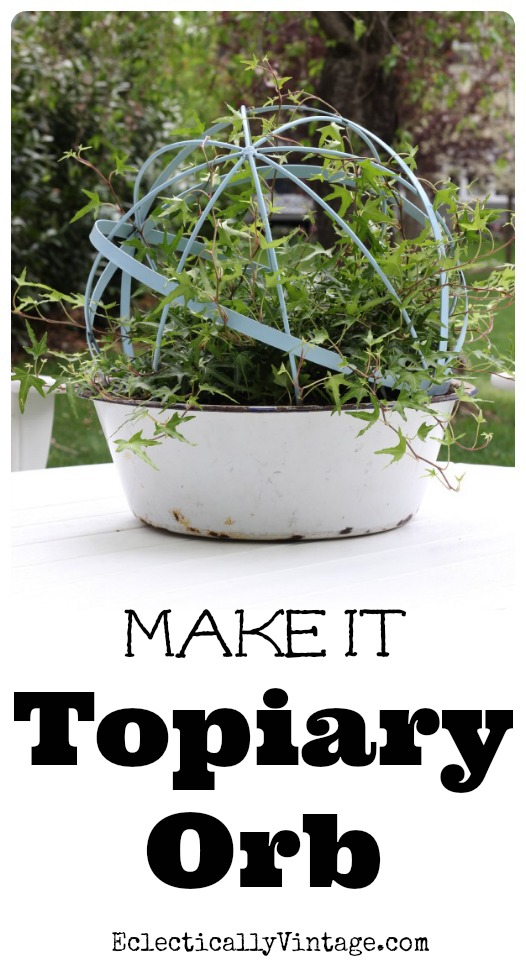 Make topiary forms from an orb - love the mix of vintage and new! eclecticallyvintage.com