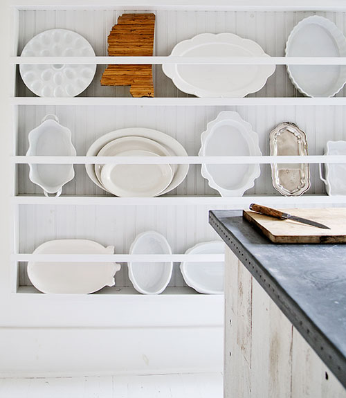 Built in plate wall and white plate collection eclecticallyvintage.com