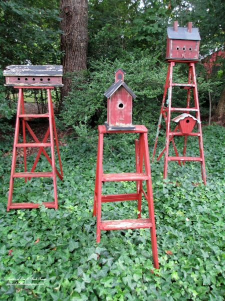 Eclectic Garden Tour - Our Fairfield Home and Garden - fun ideas like this trio of ladder birdhouses! kellyelko.com