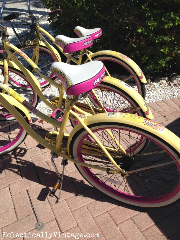 Cute pink and yellow cruisers! eclecticallyvintage.com