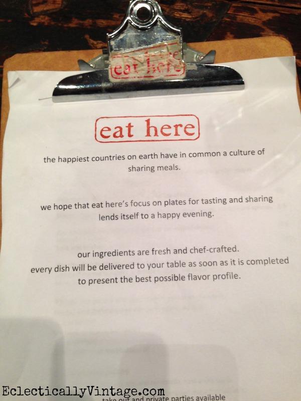 Eat Here restaurant menu kellyelko.com
