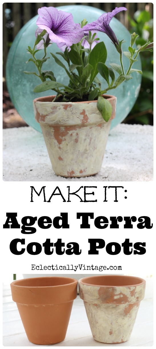 How to Age Terra Cotta Pots with this simple method! eclecticallyvintage.com