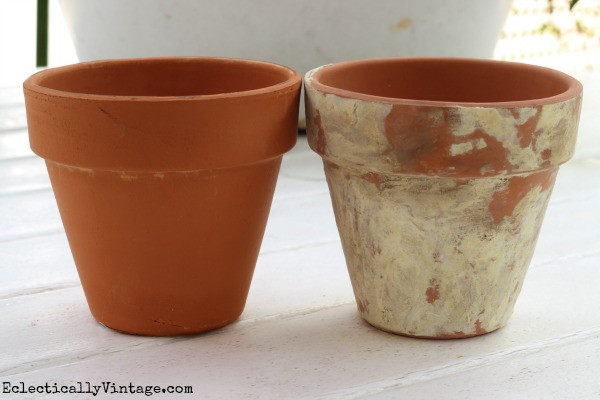 How to distress terra cotta pots eclecticallyvintage.com