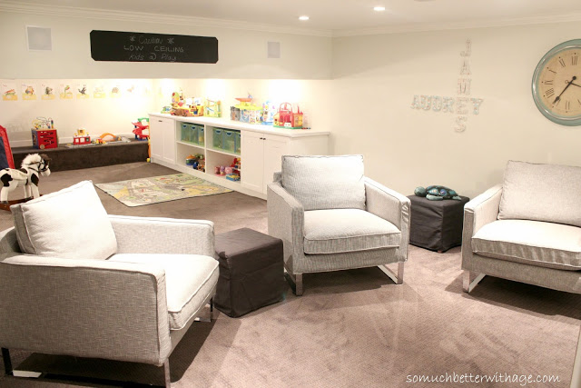 Basement renovation - family room and kids play area in one eclecticallyvintage.com
