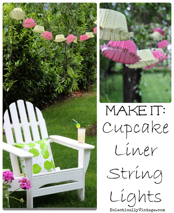 Make Cupcake Liner Lights - gorgeous strung from trees! kellyelko.com