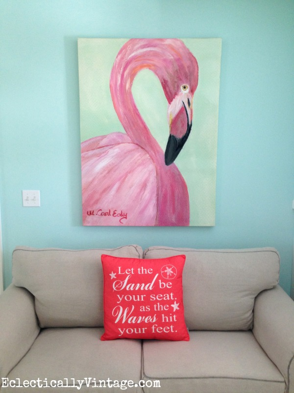 Pink flamingo art eclecticallyvintage.com