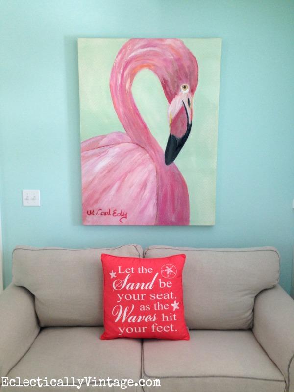 Pink flamingo art kellyelko.com