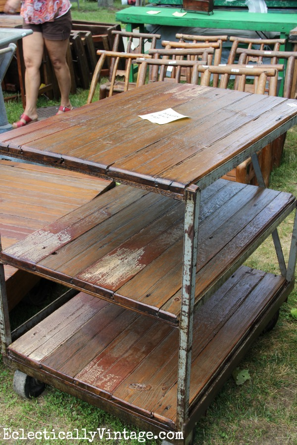 Rolling cart on casters eclecticallyvintage.com