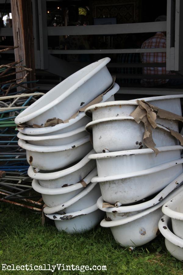 Vintage enamel tubs eclecticallyvintage.com