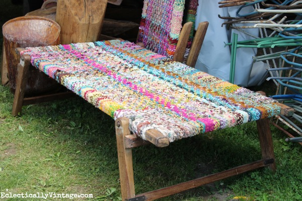 Woven fabric bench eclecticallyvintage.com