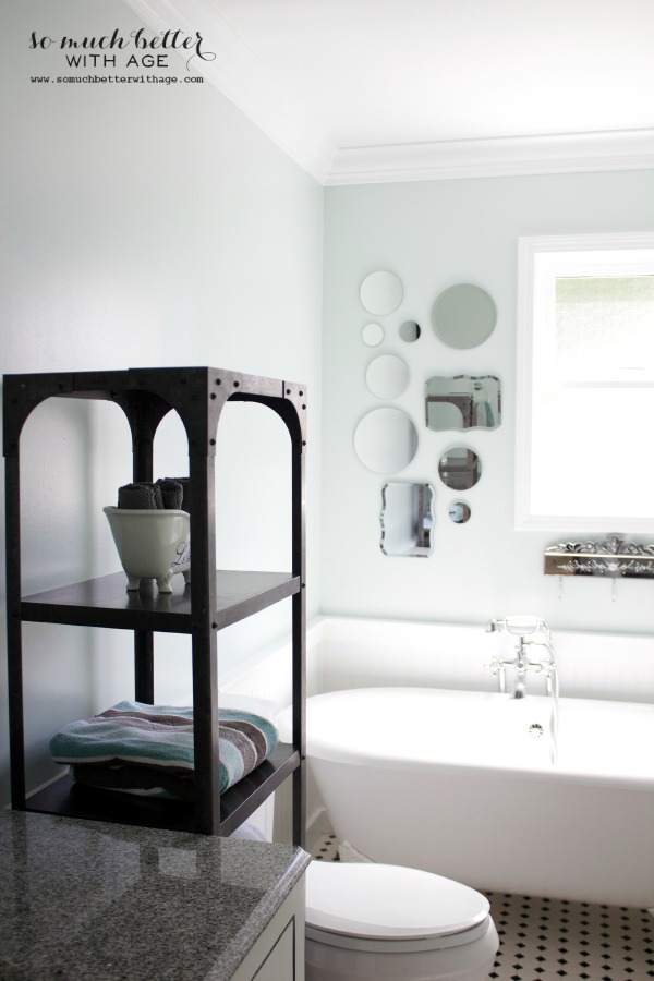 Industrial shelves in bathroom eclecticallyvintage.com