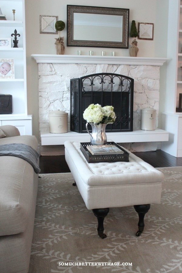 White washed fireplace is stunning kellyelko.com