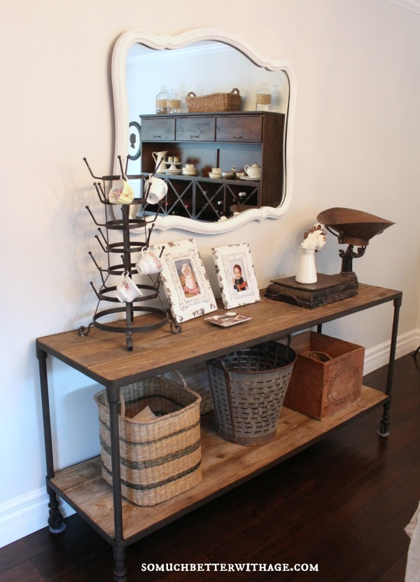 Industrial console table - love it with the vintage mirror kellyelko.com