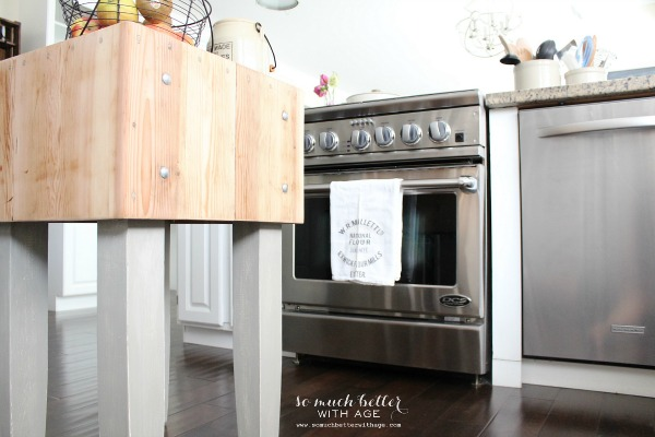 Industrial kitchen - love the butcher block island eclecticallyvintage.com