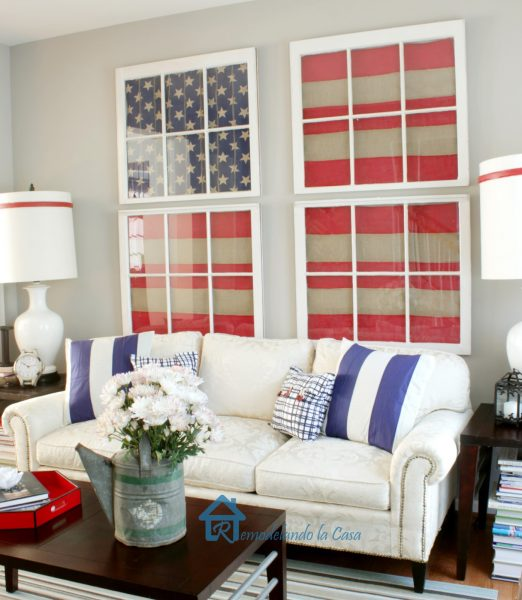 Love the DIY Flags using old windows! kellyelko.com