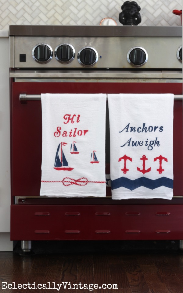 Make these nautical dishtowels and see how to paint on fabric to make it washable! kellyelko.com