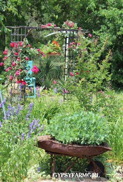 Love this garden tour with unique ideas like a wheelbarrow planter kellyelko.com