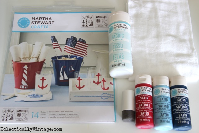 Make nautical dish towels with these supplies eclecticallyvintage.com