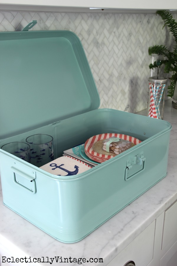 Metal box is perfect for storing party supplies eclecticallyvintage.com