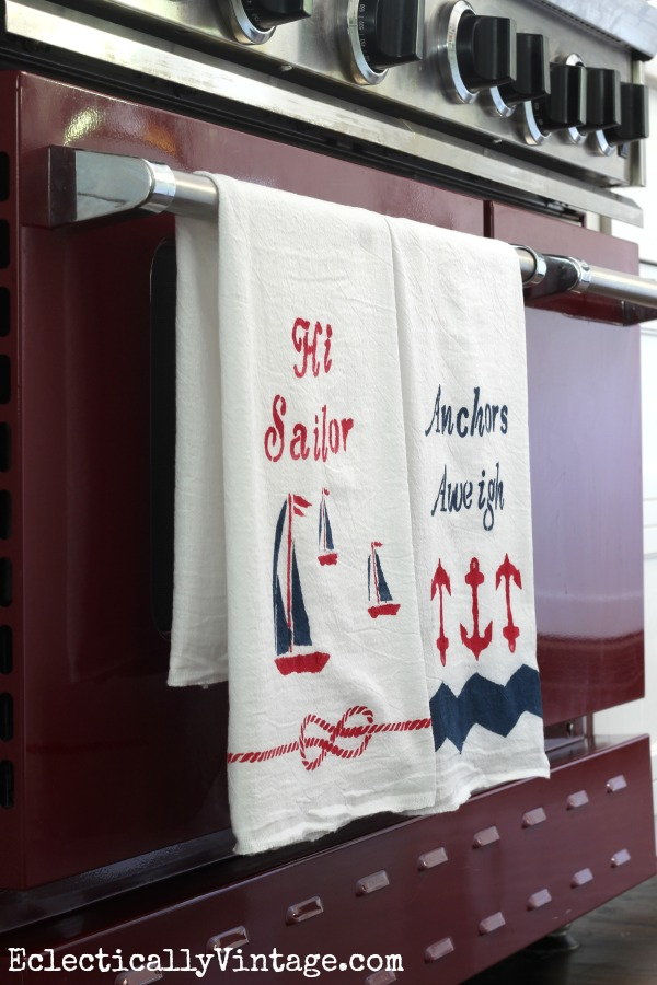 How to paint fabric to make it washable - love these customized nautical dishtowels eclecticallyvintage.com