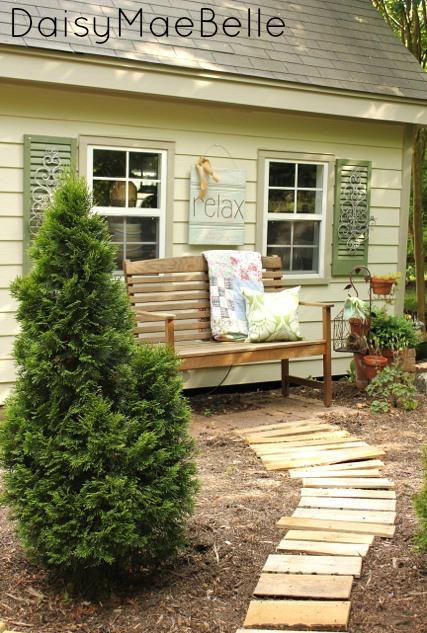 Make a garden pallet path - love the rustic look kellyelko.com
