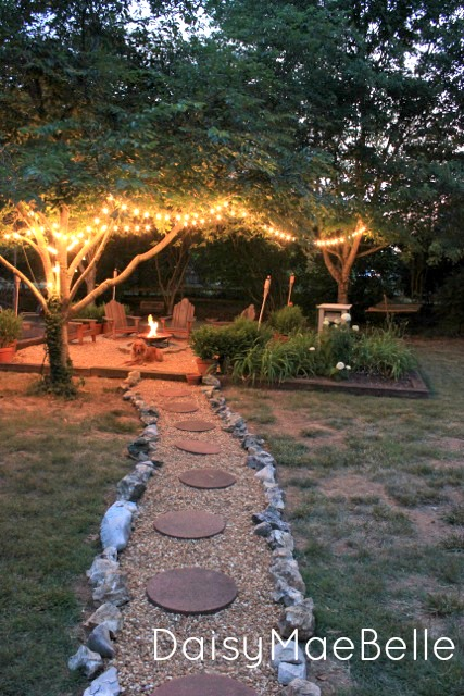What a magical backyard - love the path leading to the fire pit kellyelko.com
