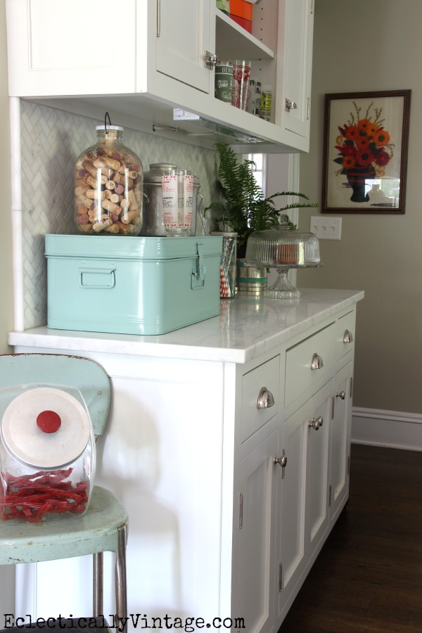 This kitchen has the best collections! eclecticallyvintage.com